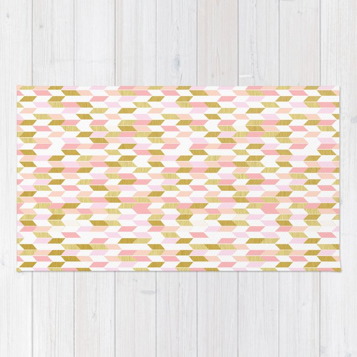 Pink And Gold Arrow Pattern Rug By Thewhiteisland