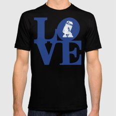 Robot LOVE - Blue Black MEDIUM Mens Fitted Tee