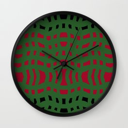 Christmas Plaid Green and Red Wall Clock