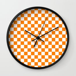 Small Checkered - White and Orange Wall Clock