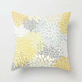 Floral Prints, Soft, Yellow and Gray, Modern Print Art Throw Pillow