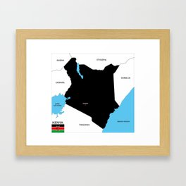 political map of Kenya country with flag Framed Art Print