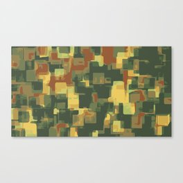 green and brown square painting abstract background Canvas Print