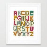 alphabet Framed Art Prints featuring ALPHABET by Matthew Taylor Wilson