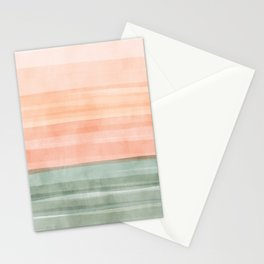 Soft Green Waves on a Peach Horizon, Abstract _watercolor color block Stationery Cards