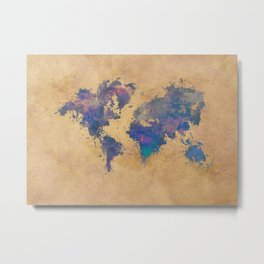 world map 92  #worldmap #map #world Metal Print