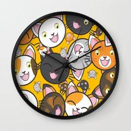 Cat Face Pattern Wall Clock