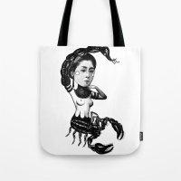 scorpio Tote Bags featuring Scorpio by Carolina Espinosa