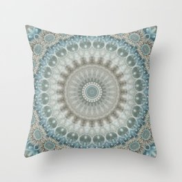 Grey, Blue and Ivory Mandala Throw Pillow