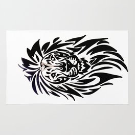 Lion face black and white Rug