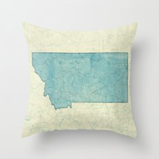 Montana State Map Blue Vintage Throw Pillow