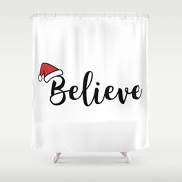 Christmas santa hat gift idea holiday xmas quote Shower Curtain