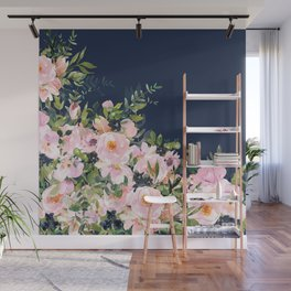 Boho, Floral Watercolor, Roses, Navy Blue and Pink Wall Mural