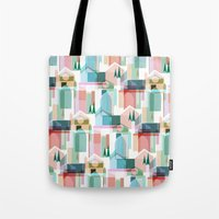bath Tote Bags featuring Bath by Coral Elizabeth Design
