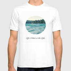 Life on the Lake White MEDIUM Mens Fitted Tee