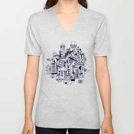 Jumbled City full of assorted junnk Unisex V-Neck