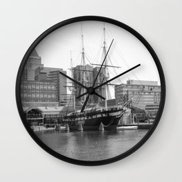 A US Frigate Ship in Baltimore, MD Wall Clock