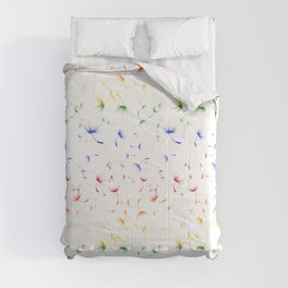 Dandelion Seeds Gay Pride (white background) Comforters