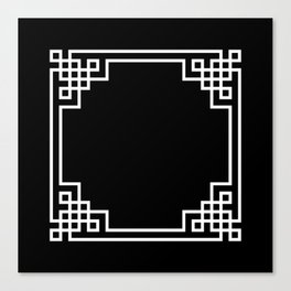 Black White Lattice Frame Canvas Print