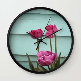 Tulips on Turqouise Wall Clock