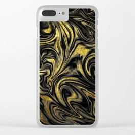 Digital Marble & Gold Clear iPhone Case