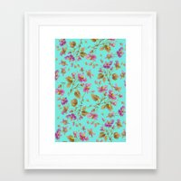 aelwen Framed Art Prints featuring beach roses mint by Ariadne