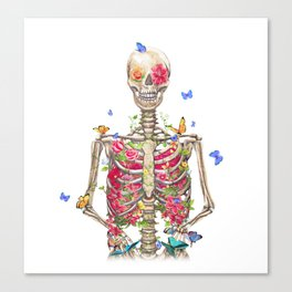 Blooming skeleton on the white background  Canvas Print