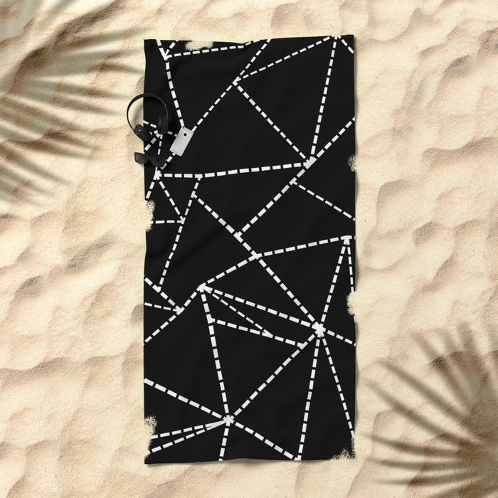 Abstract Dotted Lines White on Black Beach Towel