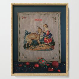 Sweet Antique Sampler about Love, Girl Feedig a Roe Deer. Made in 1892 Serving Tray