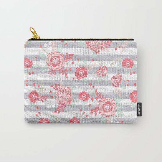 Elli - gender neutral florals grey stripe pattern modern nursery home decor Carry-All Pouch