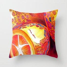 Orange kumquat citrus pop art watercolor fruit Throw Pillow