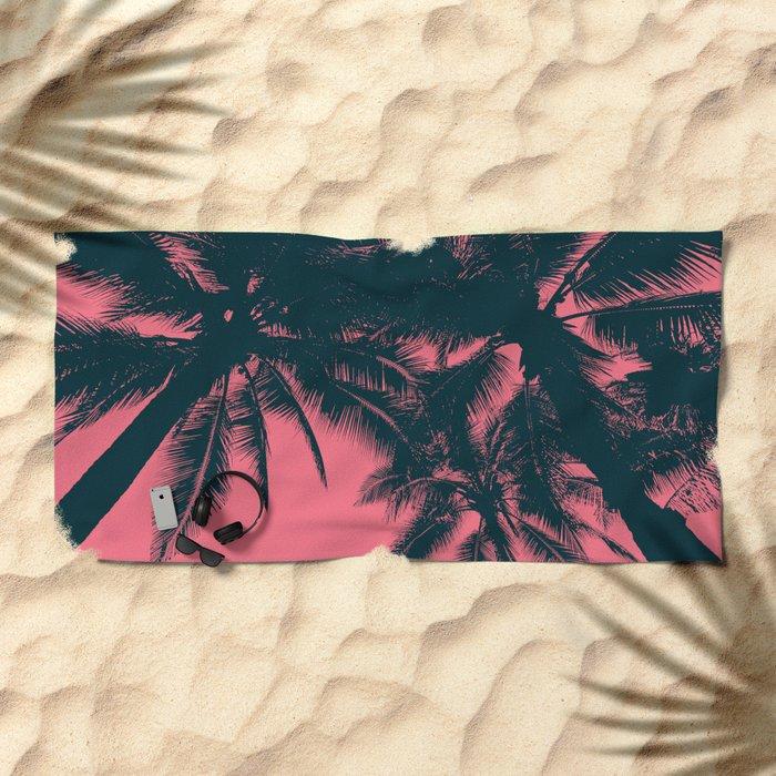 Pink palms in summer Beach Towel