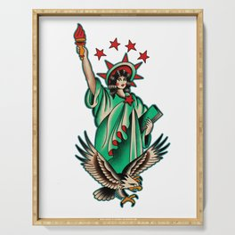 Vintage tattoo Lady Liberty Serving Tray