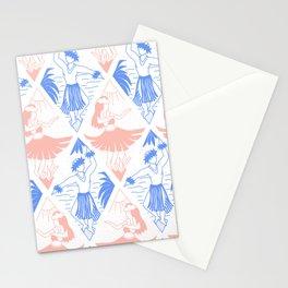 Hawaiian Woman And Man Hula Dancers Blue Pink White Pattern Stationery Cards