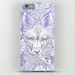 Pastel Purple Hiding Fox Drawing iPhone Case
