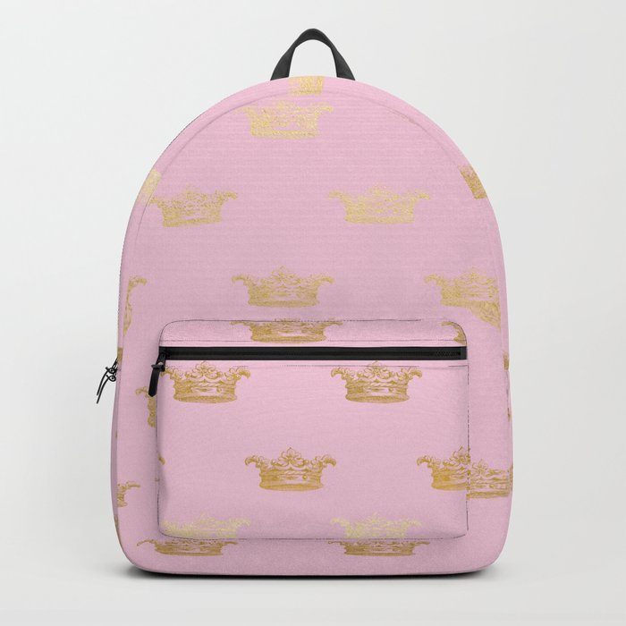 Princess gold crown pattern on pink background Backpack