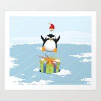 Angry penguin Art Print