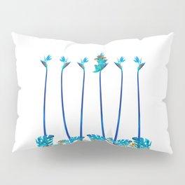 Cute Blue Dragon Tropical Floral Landscape Pillow Sham