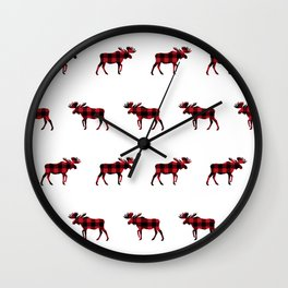 Moose Buffalo Plaid forest camping glamping outdoors forest bathing Wall Clock