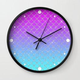 Gradient Mermaid Scales Wall Clock