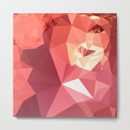 Bittersweet Red Abstract Low Polygon Background Metal Print