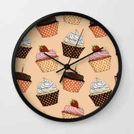 Cupcake Pattern Wall Clock