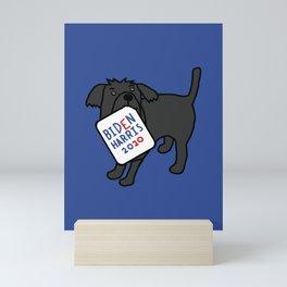 Cute Dog with Biden Harris Sign Mini Art Print