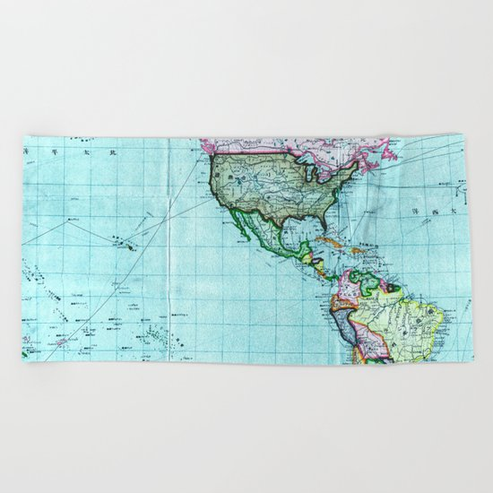 Turquoise Map Pattern Beach Towel
