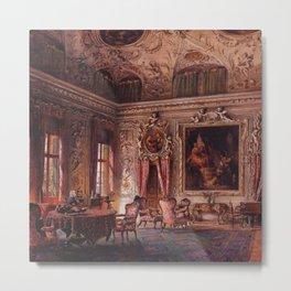 Interior Portrait, Music Room, The Salone of the Palazzo Barbaro by Ludwig Passini Metal Print