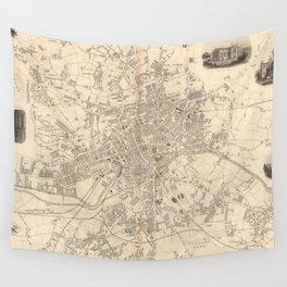 Vintage Map of Leeds England (1851) Wall Tapestry