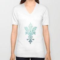 fleur de lis V-neck T-shirts featuring Fleur De Lis - French - Blue by Candace Fowler Ink&Co.