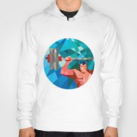 snatch Hoodies featuring Weightlifter Snatch Grab Lifting Barbell Low Polygon by patrimonio