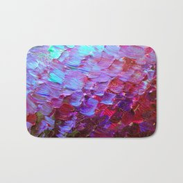 MERMAID SCALES - Colorful Ombre Abstract Acrylic Impasto Painting Violet Purple Plum Ocean Waves Art Bath Mat