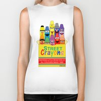 sesame street Biker Tanks featuring Color Me Sesame by Mike Boon